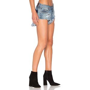 One x one teaspoon jean shorts distressed rollers
